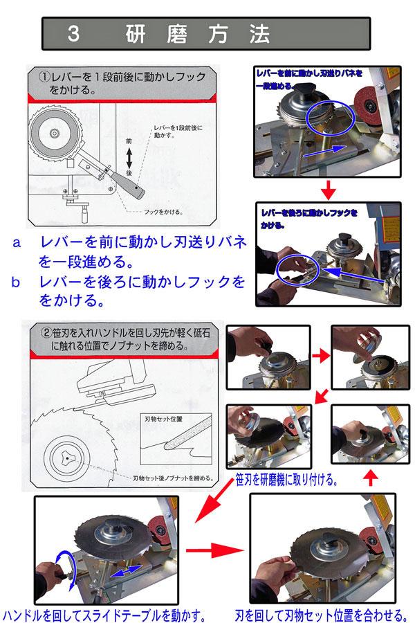 30枚笹刈刃専用研磨機の使い方4